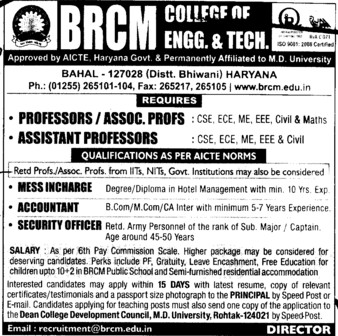 Accountant and Security Officer (BRCM College of Engineering and Technology Bahal)
