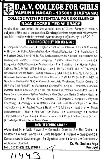 Faculty for UG and PG (DAV College for Girls)