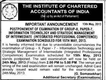 Integrated Professional Competence Examination postponed (Institute of Chartered Accountants of India (ICAI))