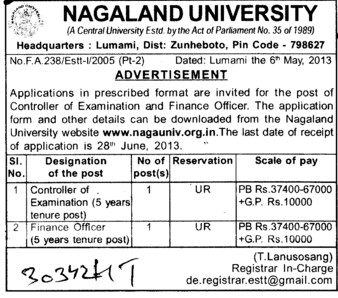 COE and Finance Officer (Nagaland University)