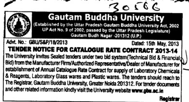 Catalogue rate contract (Gautam Buddha University (GBU))