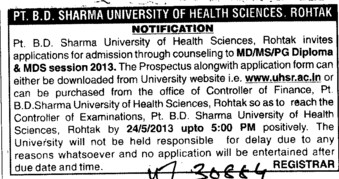 MD, MS and MDS (Pt BD Sharma University of Health Sciences (BDSUHS))