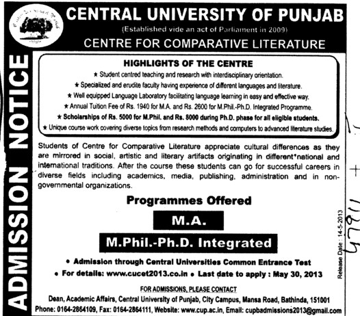 Integrated M Phil and PhD (Central University of Punjab)