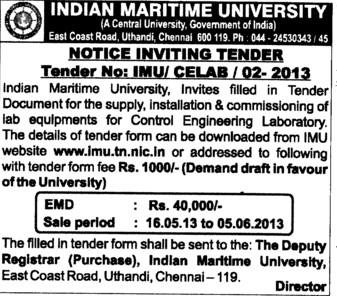 Commisioning of Lab Equipments (Indian Maritime University)