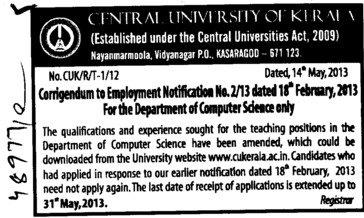 Vacancy changes (Central University of Kerala)