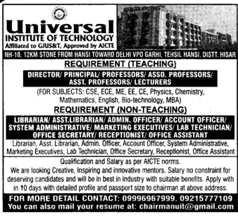 Director, Principal and Librarian (Universal Institute of Technology)