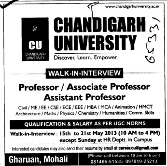 Asstt and Associate Professor (Chandigarh University)