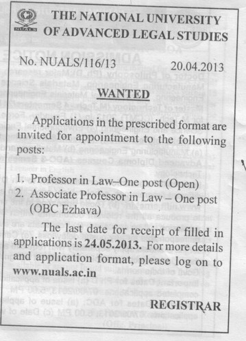 Professor and Associate Professor in Law (National University of Advanced Legal Studies (NUALS) Kaloor)