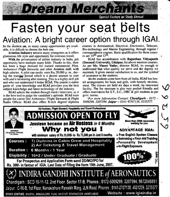 Diploma in Cabin grow hospitality (Indira Gandhi Institute of Aeronautics)