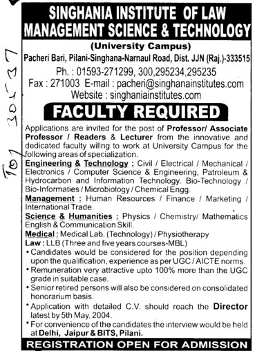 Professor, Reader and Lecturer (Singhania University)