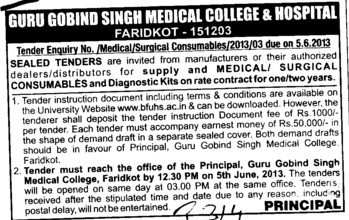 Supply of Medical (Guru Gobind Singh Medical College)