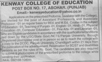 Asstt Professor on regular basis (Kenway College of Education)