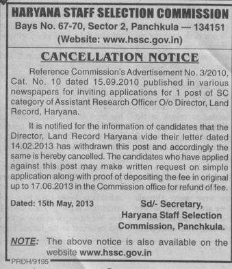 Cancellation Notice for SC ST post (Haryana Staff Selection Commission (HSSC))