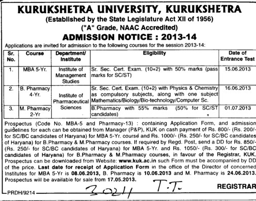 MBA and M Pharmacy (Kurukshetra University)