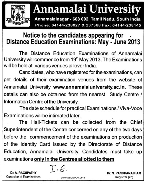 Distance Education Examination on 19th May (Annamalai University)