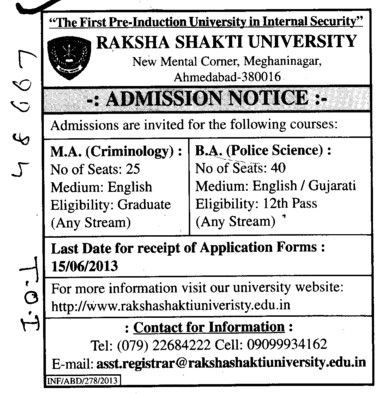 BA and MA (Raksha Shakti University)