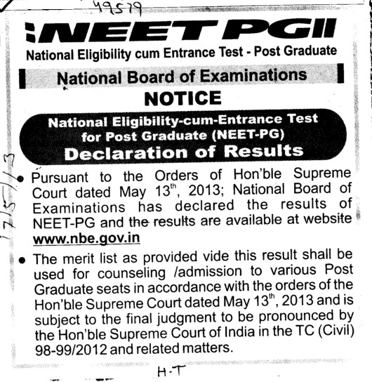 Declaration of NEET PG result (National Board of Examinations)