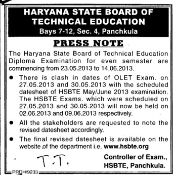 Press Note for OLET Exam (Haryana State Board of Technical Education)