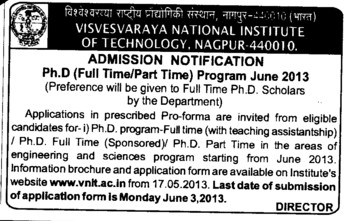 PhD Programme (Visvesvaraya National Institute of Technology (VNIT))