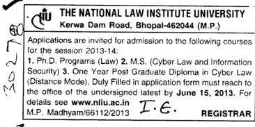 PhD Programme (National Law Institute University (NLIU))