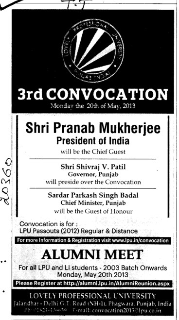 3rd Convocation and Alumni Meet (Lovely Professional University LPU)