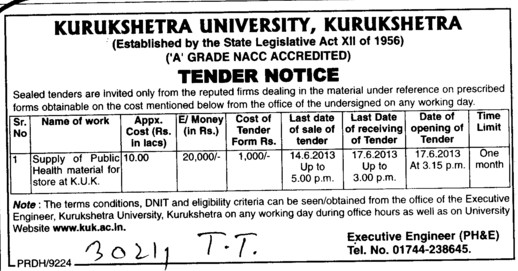 Supply of Public health material (Kurukshetra University)