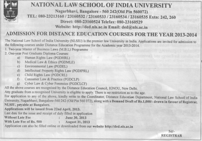 PG Diploma in Medical Law (National Law School of India University (NLSIU))