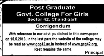 Changes in newspaper advt (PG Government College for Girls (GCG Sector 42))
