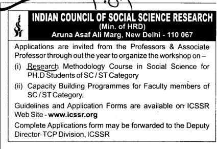 Research Methodology Course (Indian Council of Social Science Research)