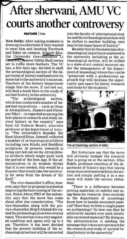 AMU VC courts another controversy (Aligarh Muslim University (AMU))