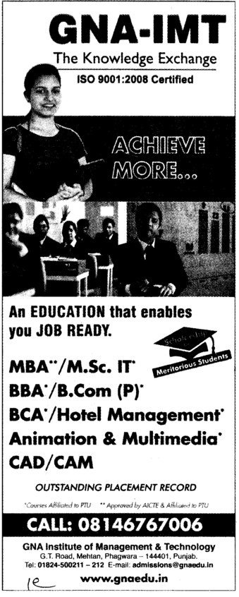 MBA and BCom (GNA Institute of Management and Technology)