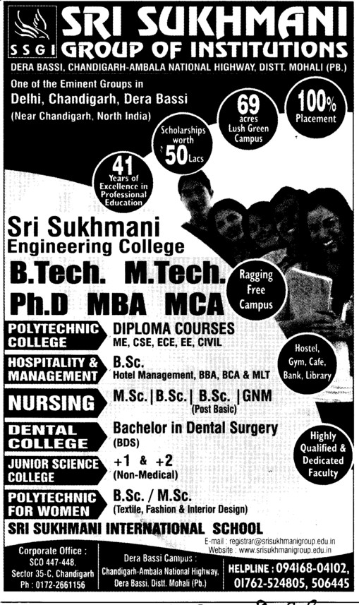 BTech, MTech and PhD (Sri Sukhmani Group of Institutes)