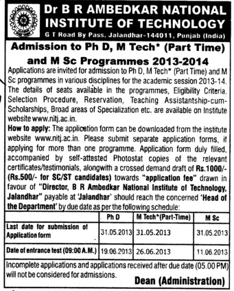MSc Programme (Dr BR Ambedkar National Institute of Technology (NIT))