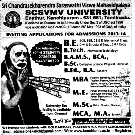 BAMS and ME (Sri Chandrasekharendra Saraswathi Vishwa Mahavidyalaya Deemed University)