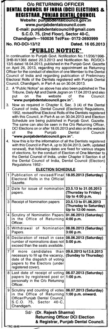 Election (Punjab Dental Council)