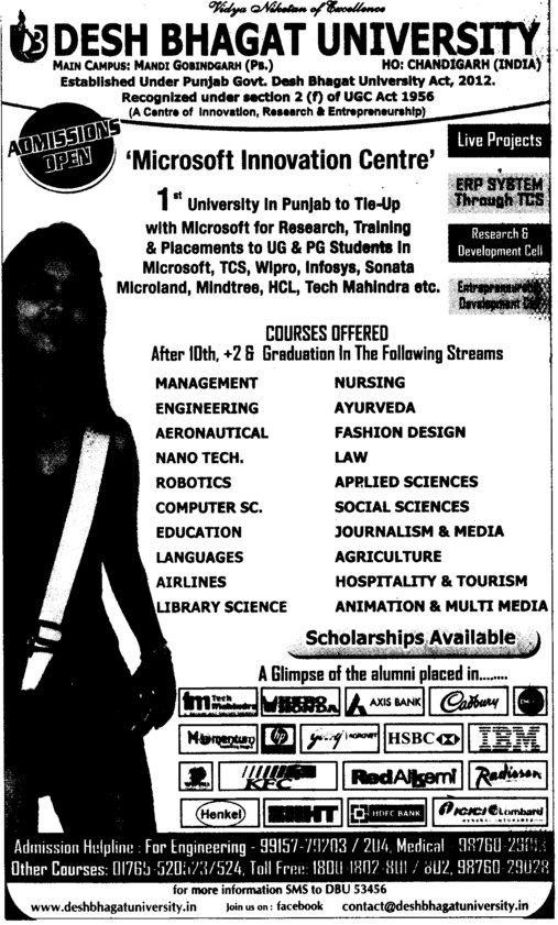 Graduation in Management and Law etc (Desh Bhagat University)