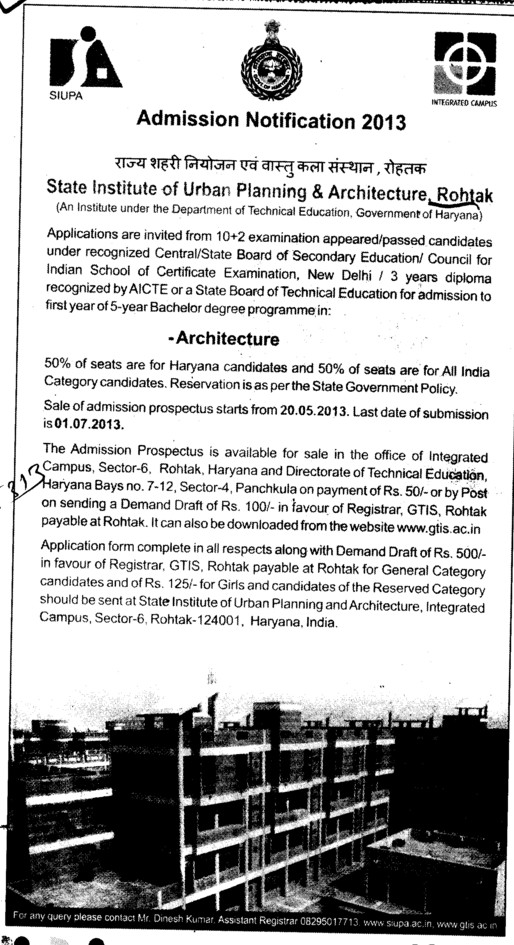 3 years Diploma Course (State Institute of Urban Planning and Architecture SIUPA)