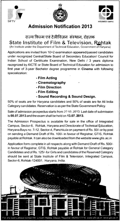 Bachelor Program in Film Acting (State Institute of Film and TV (SIFTV))