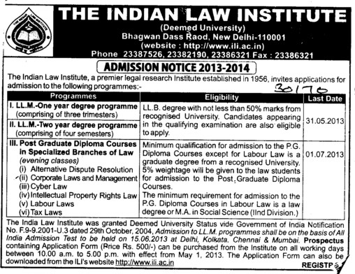 LLM Course (Indian Law Institute)
