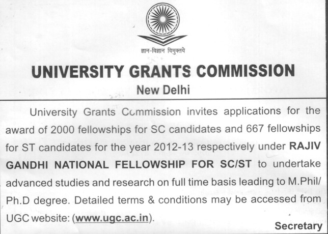 Fellowships for SC candidates (University Grants Commission (UGC))