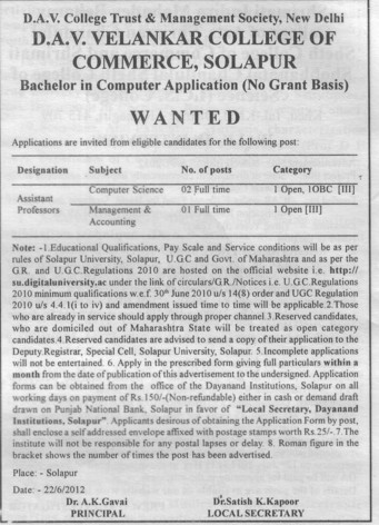 Asstt Professor in computer science (DAV Velankar College of Commerce)