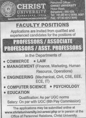 Asstt and Associate Professor (Christ University)