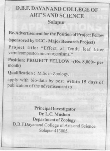 Project Fellow (DBF Dayanand College of Arts and Science)