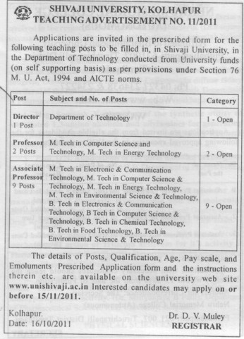 Director and Associate Professor (Shivaji University)