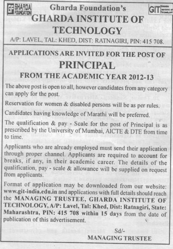 Principal (Gharda Foundations Gharda Institute of Technology)
