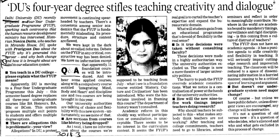 DUs 4 years degree stifles teaching creativity (Delhi University)