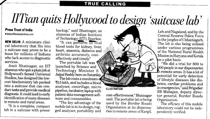 IITians quits Hollywood to design suitcase lab (Indian Institute of Technology (IITR))