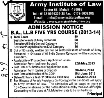 BA and LLB Course (Army Institute of Law)