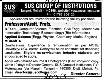 Professor and Asstt Professor (SUS Group of Institutions)