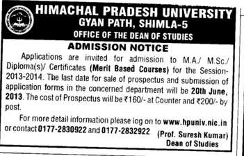 MA and MSc (Himachal Pradesh University)